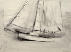 """Sailing II,"" William Thon, charcoal, modern, 20th century"