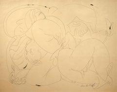 """Three Graces,"" Jose de Creeft, ink on paper, modern, figurative art, ca 1930's"