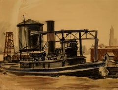 """Tug on the East River with Woolworth Building"" Reginald Marsh, watercolor"