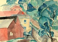 """Village Road,"" Ethel Louise Paddock, watercolor, modernist, landscape"