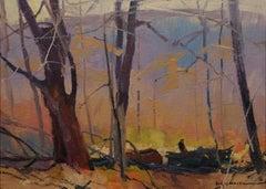 """""""Woods Team, Varysburg,"""" Roy Martell Mason, impressionist landscape oil painting"""