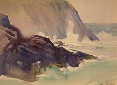 """Surging Seas, Whitehead,"" Sears Gallagher, realist, watercolor, Monhegan"