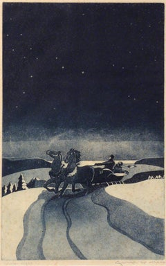 """Winter Night,"" George Mess, sleigh ride, horses, color aquatint"