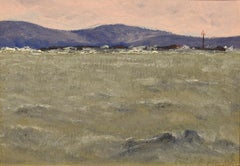 """Channel Marker, Maine Coast,"" Robert McClelland, oil, coastal, impressionism"