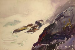 """""""Crashing Surf off the Headlands"""" Sears Gallagher, realism, watercolor, seascape"""