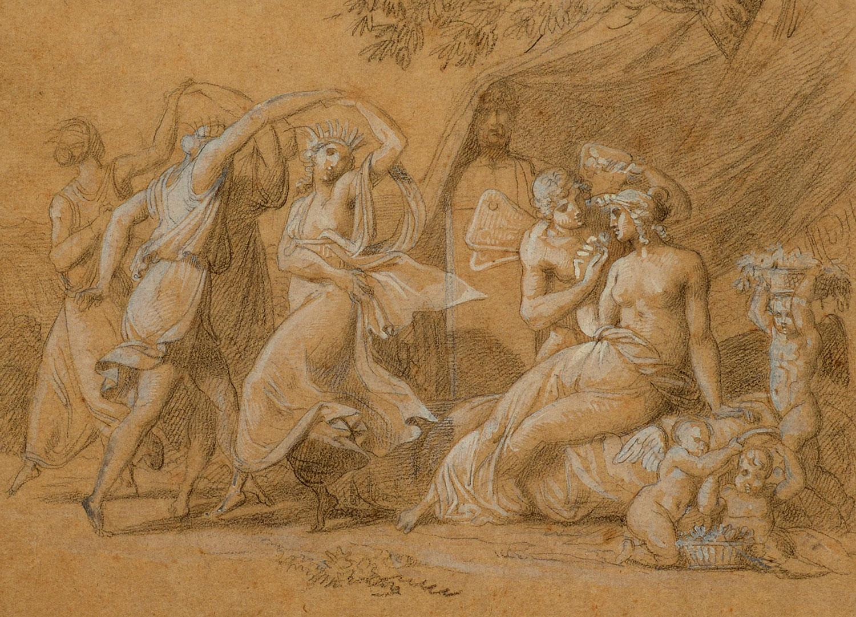 """The Dance,"" Ludovico Lipparini, graphite, gouache, mythological, classical"