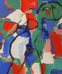"""Abstract Nude,"" Anatoliy Tertychny, gouache, abstract, nude, contemporary"