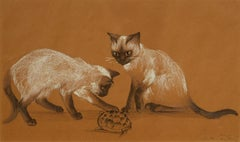 Mischief, August 10, 1939, Agnes Tait, American, drawing, Siamese cats at play