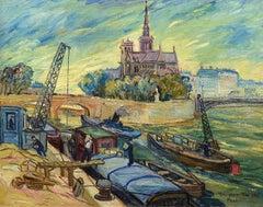 """Notre Dame from the Seine,"" Ljuba Naumovitch, oil, Paris, Post-Impressionist"