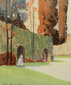 """Figures in the Garden,"" George Stimmel, Impressionist watercolor and gouache"