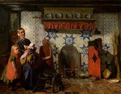 """Friesian Interior,"" Sipke (Cornelis) Kool, Dutch, Oil, Realist, Genre Painting"