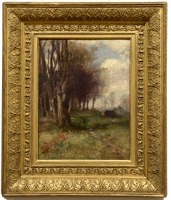 """""""a Fontainebleu,"""" Charles Francis DeKlyn, Barbizon oil of the French countryside"""