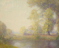 """Springtime, Giverny,"" attrib to Lawrence Mazzanovich, Impressionist oil, France"