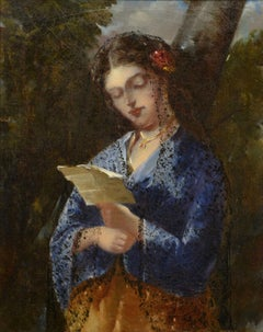 """The Letter,"" attrib to Narcisse de la Pena Diaz, Barbizon oil of woman reading"