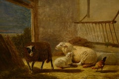 """In the Stable,"" Jacob van Dieghem, Realism, oil on panel, 19th c Belgian, sheep"