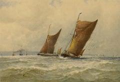 """Sailing Vessels at Sea,"" George S. Walters, British, Royal Academy, watercolor"