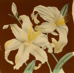 """""""Lilies,"""" Robert Reinhardt von Liski, gouache, flowers, Art Deco"""