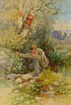 """Traveler's Refreshment,"" Albert Bellows, 19th c landscape, watercolor, realism"