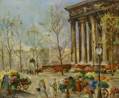 """Flower Market at the Madeleine,"" Ernest Emil Lanz, Paris, France, Impressionism"