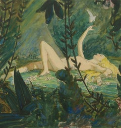 In the Forest Clearing, Edwin Georgi, gouache, nude, noted American illustrator