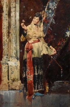 """Lady with a Rose, Valencia,"" J. Hernandez, 19th c, impressionist, dancer, Spain"