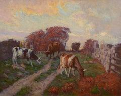 """Autumn Pasture,"" George Arthur Hays, Impressionist, Cows Grazing in Landscape"