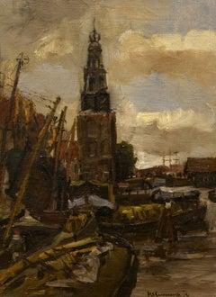 """Along the Canal, Amsterdam,"" Hendrik Cornelis Kranenburg, Sr., Impressionist"