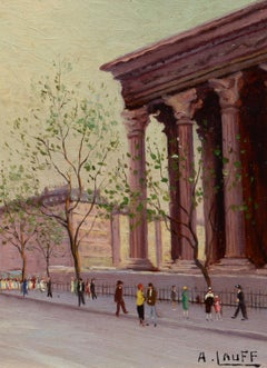"""""""At the Madeleine, Paris"""" by A. Lauff, France, impressionist, mid-century, oil"""