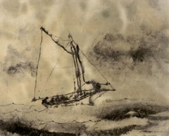 """""""Clearing Skies,"""" William Thon, ink wash on paper, sailing, Maine coast"""