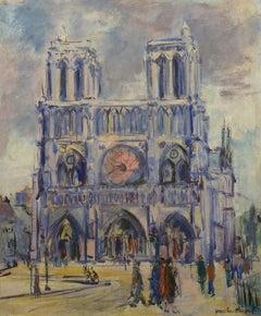 """Notre Dame, Paris,"" Grace Huntley Pugh, American Impressionist, France, oil"