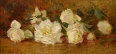 """White Roses"" American impressionist still life painting by California artist"