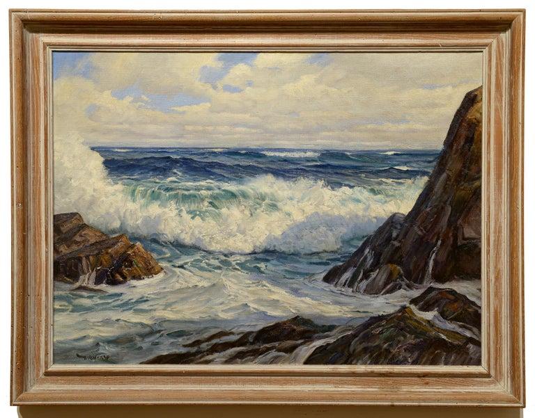 Crashing Surf, Maine Coast - Painting by Charles Bridgeman Vickery