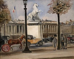 """""""Champs-Élysées, Paris,"""" Genevieve Gallibert, oil, Paris cityscape, ca 1922"""