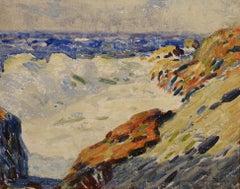 """Blue Seas,"" Whitney Hubbard, oil, impressionist, seascape, ca 1920-30"