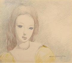 """Jeune Femme en Robe Jaune,"" Marie Laurencin, ca. 1920-30, portrait, modern"