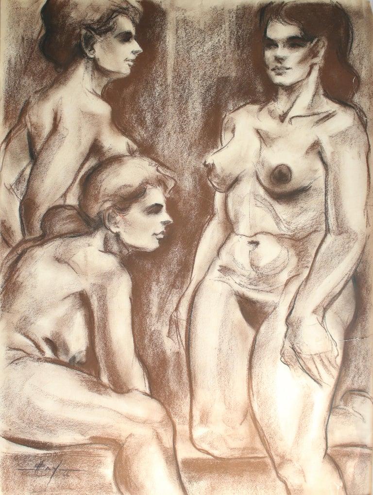 Unknown Figurative Art - Untitled: Three Nude Females
