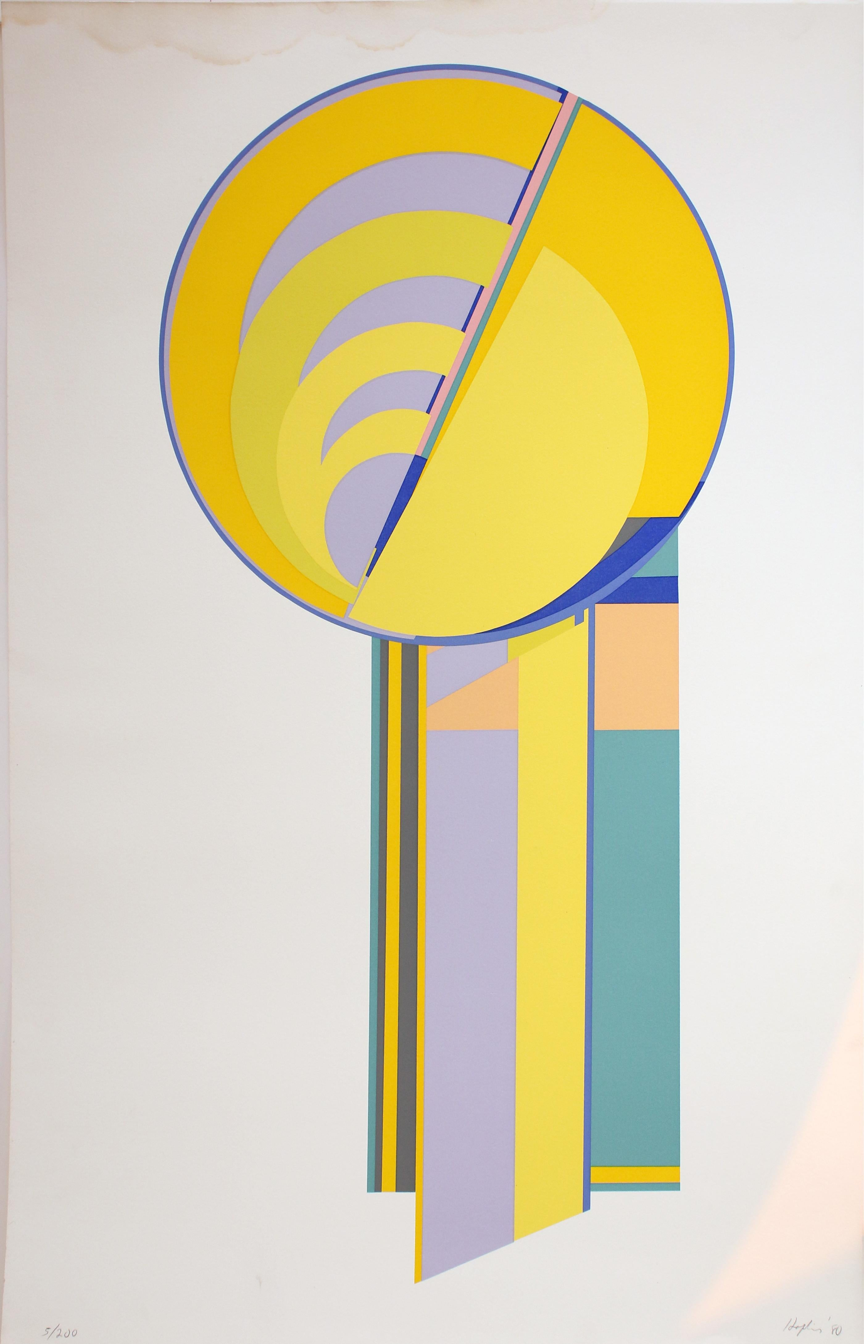 Untitled: Yellow Orange Abstract Geometric Serigraph (Edition 5/200)