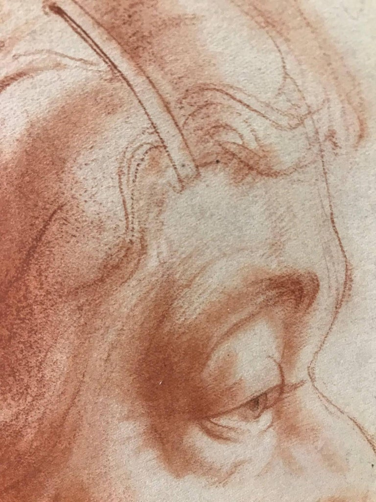 Venice (Red Charcoal Profile of an Elderly Lady) - Art by John Gilroy