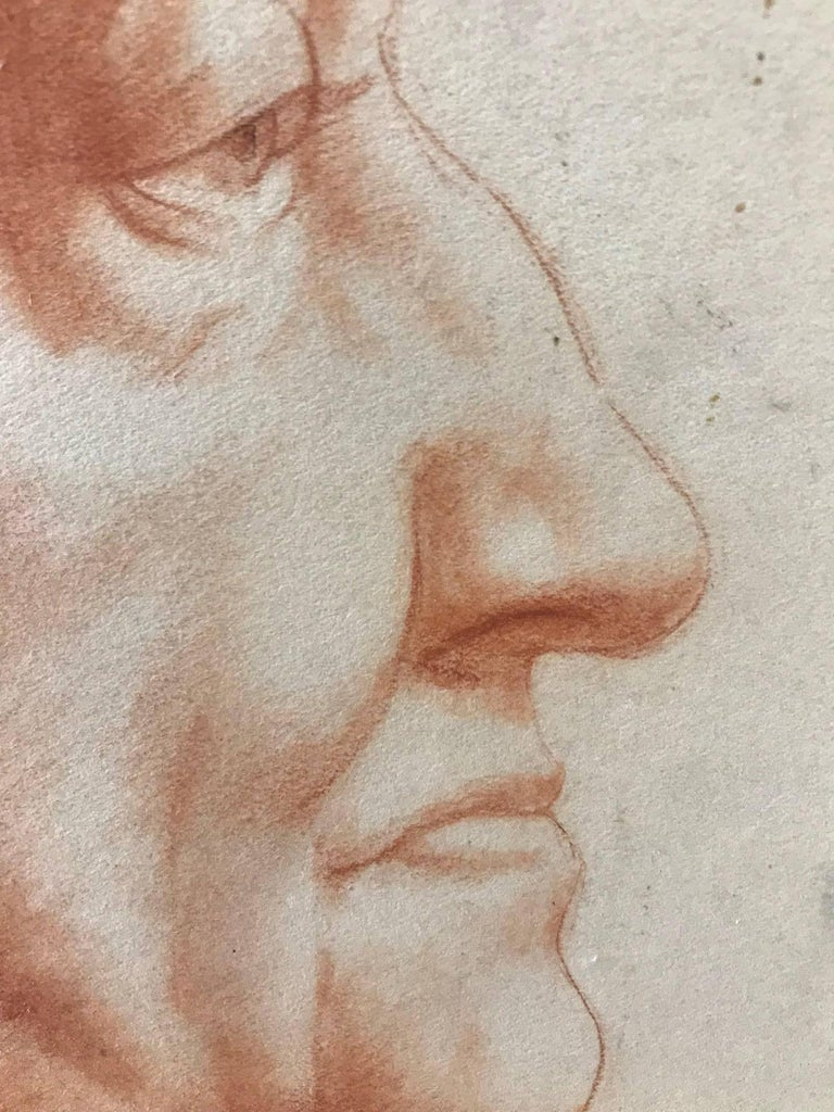 Venice (Red Charcoal Profile of an Elderly Lady) - Academic Art by John Gilroy