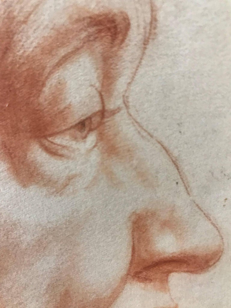 Venice (Red Charcoal Profile of an Elderly Lady) - Gray Portrait by John Gilroy