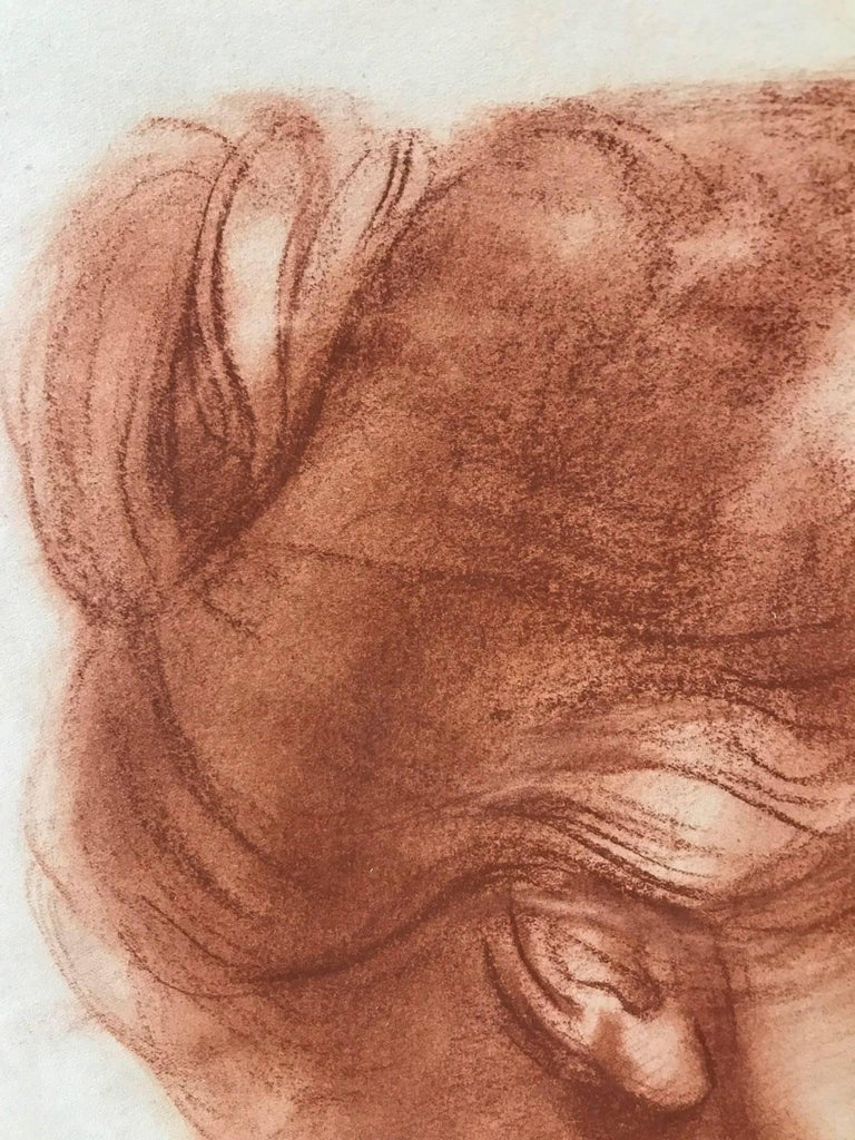 Venice (Red Charcoal Profile of an Elderly Lady) For Sale 1