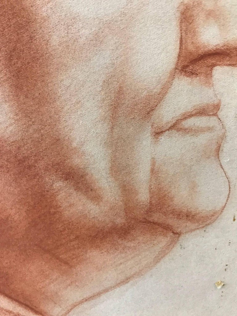 Venice (Red Charcoal Profile of an Elderly Lady) For Sale 2