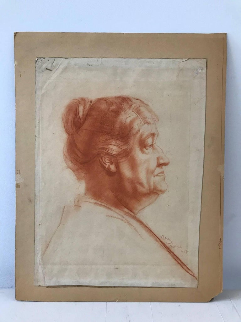 John Gilroy Portrait - Venice (Red Charcoal Profile of an Elderly Lady)