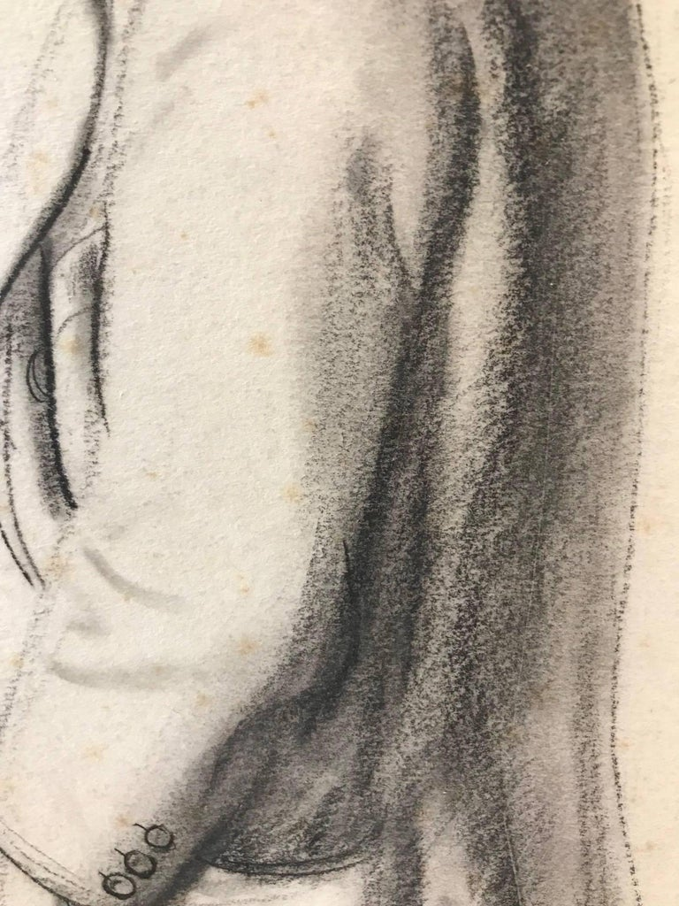 Untitled (Sideview of a Gentleman) - Gray Portrait by John Gilroy
