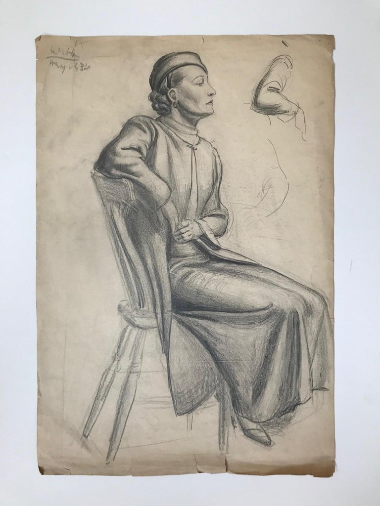 Unknown Figurative Art - Untitled: 1930s Drawing Of  A Seated Woman