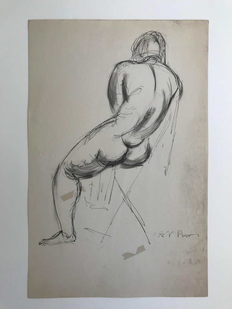Henry Varnum Poor Figurative Art - Untitled: Rearview Of a Seated Nude