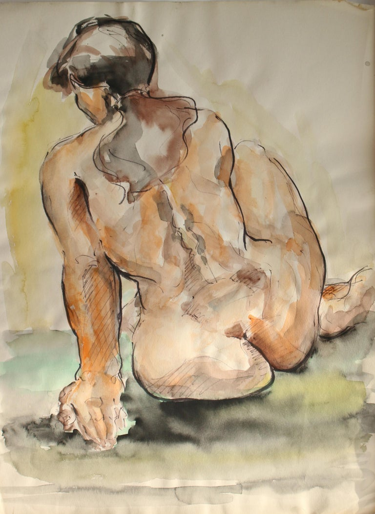 Unknown Figurative Art - Untitled: Seated Rear Nude