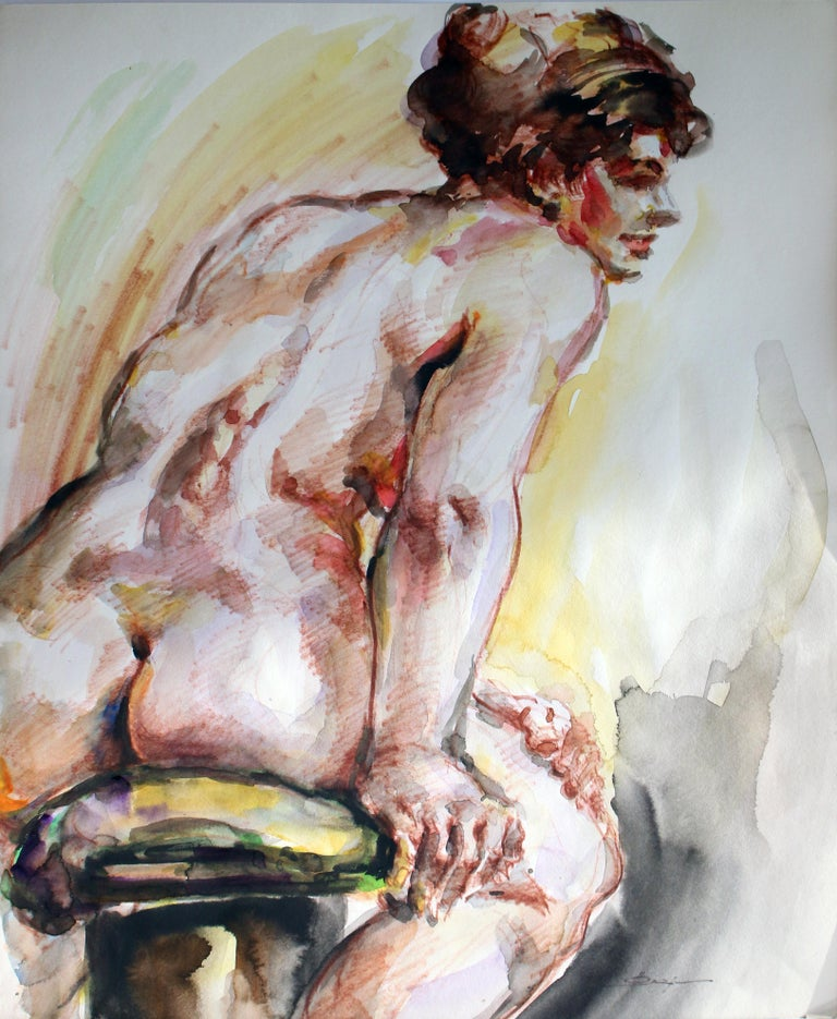 Unknown Figurative Art - Untitled: Solo Seated Nude