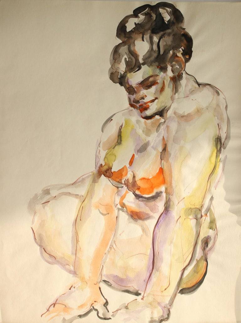 Unknown Figurative Art - Untitled: Solo Seated Nude Twist