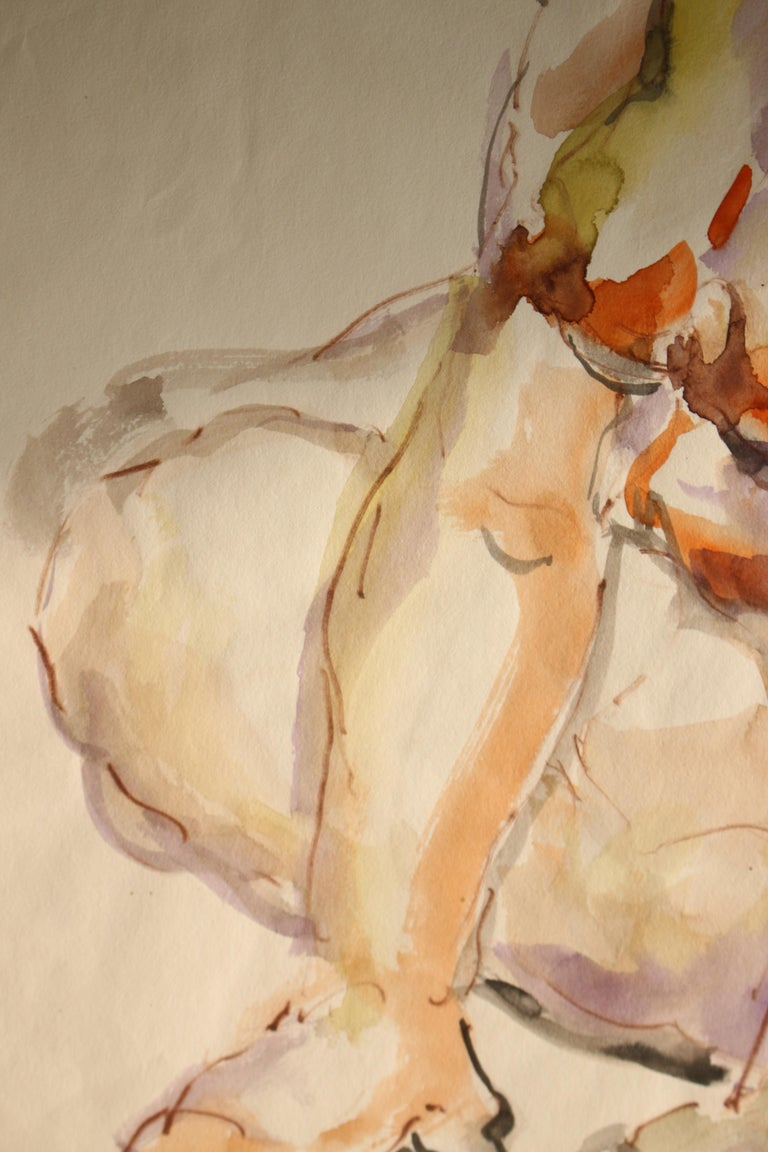 Untitled: Solo Seated Nude Twist - Beige Figurative Art by Unknown